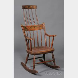 Fancy-painted Windsor Comb-back Armed Rocking Chair
