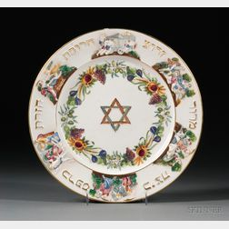 Large Capo di Monte Porcelain Passover Seder Plate