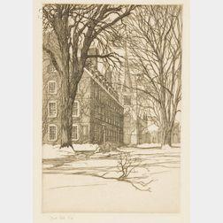 Samuel V. Chamberlain (American, 1895-1975)      The Harvard Yard, Cambridge