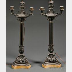 Pair of Italianate Bronze Candelabra