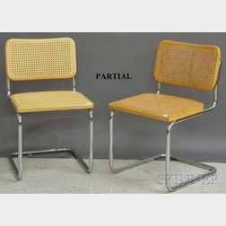 Set of Four Breuer-style Caned Wood and Bent Tubular Steel Side Chairs