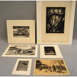 Six Unframed Prints:      Lawrence Beall Smith (American, 1909-1995), Seaside Nomads