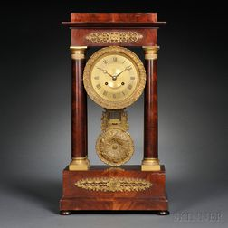 Mahogany and Gilt-brass French Portico Clock