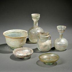 Six Roman-style Glass Vessels