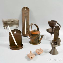 Group of Early Mostly Metal Lighting Devices