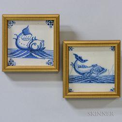Two Delft Sea Monster Tiles