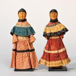 Pair of Seminole Wood Female Dolls