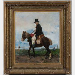 Attributed to Romàn Ribera Cirera (Spanish, 1849-1935)      A Gentleman Caller on Horseback