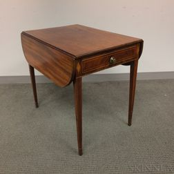 Federal Inlaid Mahogany One-drawer Pembroke Table