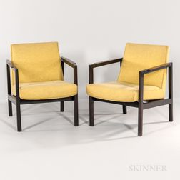 Two Edward Wormley for Dunbar Open Arm Lounge Chairs
