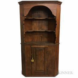 Early Pine Corner Cupboard