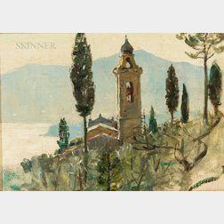Anna Richards Brewster (American, 1870-1952)      Church at San Anbrogia, Rapallo, Italy