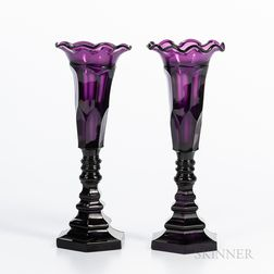 Pair of Blown and Molded Amethyst Glass Vases