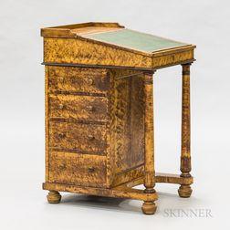 Victorian Bird's-eye Maple and Mahogany Veneer Davenport Desk