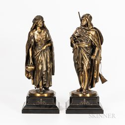 After Jean Jules Salmson (French, 1823-1902),   Pair of Orientalist Bronze Figures of a Man and Woman