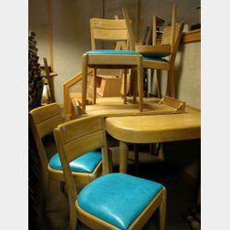 Heywood Wakefield Modern Dining Table and Six Chairs