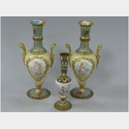 Pair of Ormolu and Champleve Mounted Decorated Porcelain Vases and a Single Vase.
