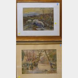 Lot of Two Framed American Watercolors