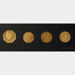 Four California Private Mint Gold Coins