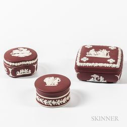 Three Wedgwood Crimson Jasper Dip Boxes and Covers