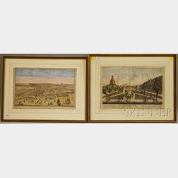 Two Framed French Hand-colored Engravings Depicting Views of Batavia