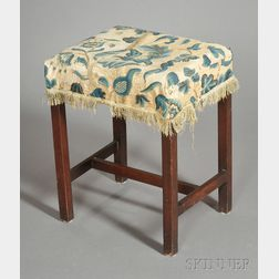 Chippendale Mahogany Upholstered Footstool