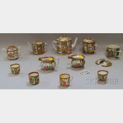 Assembled Set of Chinese Export Rose Medallion Pattern Porcelain Tableware