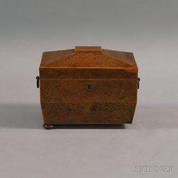 George III Inlaid Burl Veneer Tea Caddy
