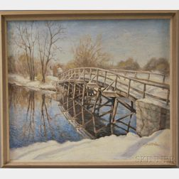 J. Spatola (American, 20th Century)      Old North Bridge, Concord, Massachusetts.