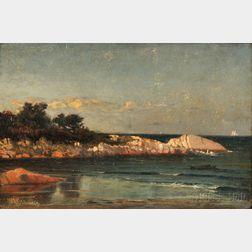 Winckworth Allan Gay (American, 1821-1910)      Rocky Point with Distant Schooner