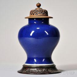 Cobalt Blue-glazed Porcelain Jar