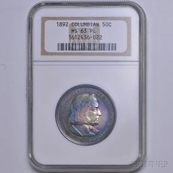 1892 Columbian Commemorative Half Dollar, NGC MS63 Prooflike.