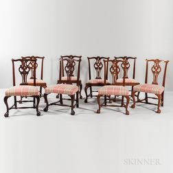 Assembled Set of Eight Carved Mahogany Chairs