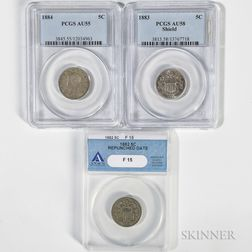 1882 and 1883 Shield Nickels and an 1884 Liberty Head Nickel