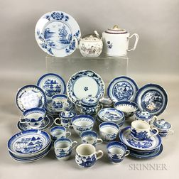 Approximately Twenty-four Pieces of Canton Blue and White Tableware