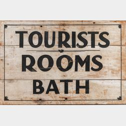 """White- and Black-painted """"Tourists/Rooms/Baths"""" Sign"""
