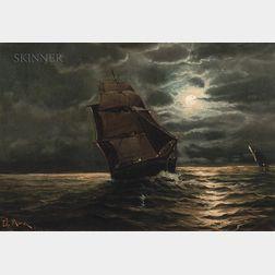 Edward Moran (American, 1829-1901)      Ship in Moonlight
