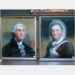 Framed Pair of Reverse-Painted Glass Portraits of George and Martha Washington.