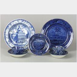 Group of  Five Blue Transfer Decorated Staffordshire Table Items