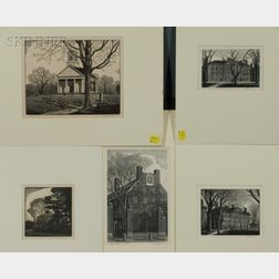 Thomas Willoughby Nason (American, 1889-1971)    Lot of Five Architectural Views:  The Old Manse, Concord