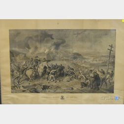 Walnut Framed Lithograph Sherman's March to the Sea