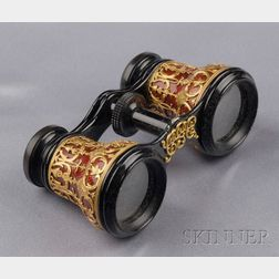 Antique 18kt Gold, Enamel, and Patinated Steel Opera Glasses, Tiffany & Co.