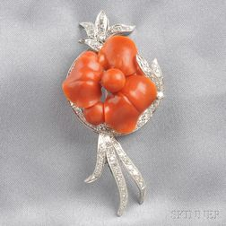 14kt White Gold, Coral, and Diamond Flower Brooch