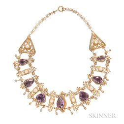 Gilt-silver, Amethyst, and Pearl Necklace