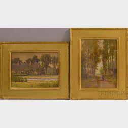 Hezekiah Anthony Dyer (American, 1872-1943)      Two European Landscapes:  Barbizon