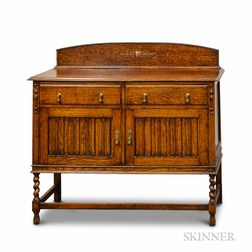 Baroque-style Carved Oak Cabinet on Stand