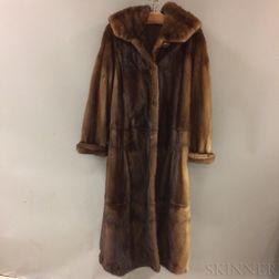 Full-length Mink Coat with Hood