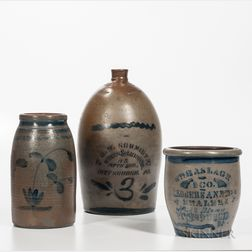 Three Cobalt-decorated Pennsylvania Stoneware Items