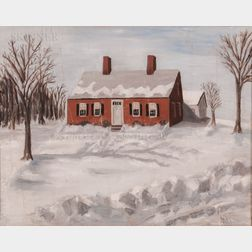 American/European School, 20th Century      Country Home in the Snow