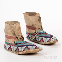 Pair of Plains Beaded Hide High-top Moccasins
